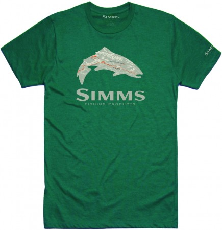 Simms t-shirt Fire Hole Trout Dark Teal Heather