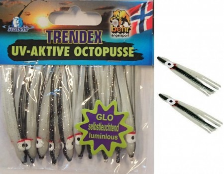 GLOW Octopus  6,5 cm (10-pkn) BLACK STRIPE